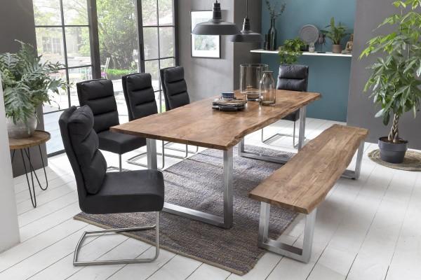 massiv-direkt Sitz-Bank 180 x 38 cm Akazie natur mit Baumkante (Manhattan 2.0) 800-180-13